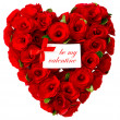 Be my valentine. red heart of roses with white card — Stock Photo