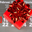 Red gift for valentine — Stock Photo