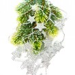 Foto Stock: Christmas tree with silver stars garland