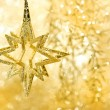 Stock Photo: Golden shiny star. christmas decoration