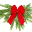 Stock Photo: Christmas tree branch with red ribbon