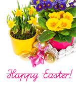 与复活节小兔子装饰的春天的花朵 — 图库照片