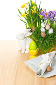 Easter table setting with bunny and eggs decoration — Stock Photo
