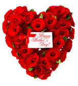 Happy Mother's Day! red heart of roses with white card — Stock Photo