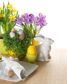 Festive easter table setting with bunny and eggs decoration — Stock Photo