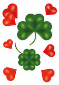 Four leaf clover and red hearts — Stockfoto