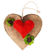 Wooden heart and red heart — Stockfoto