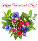 Colorful flowers bouquet in heart shape — Stok fotoğraf
