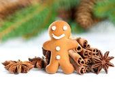 Sonriente hombre de jengibre con especias de navidad — Foto de Stock