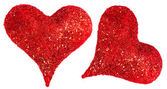 Two red hearts isolated on white — Stock Photo