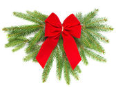 Christmas tree branch with red ribbon — Foto de Stock