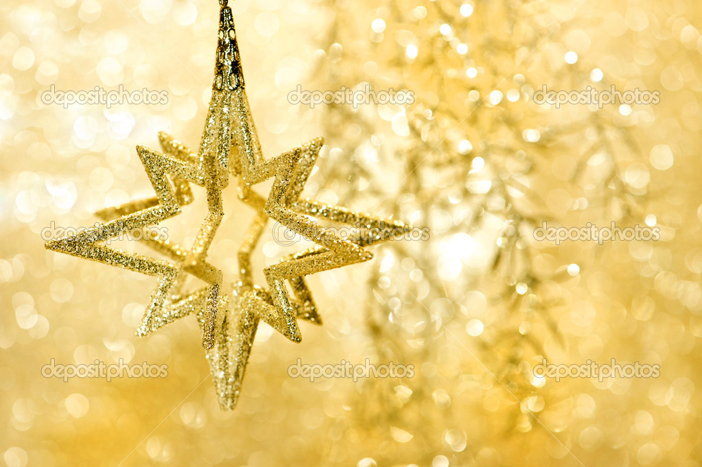 Golden shiny star. christmas decoration. card concept — Stock Photo #13406645