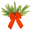 Branch of christmas tree with red ribbon. christmas and new year — Stock Photo #13410485