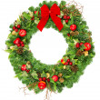 Christmas wreath with red ribbon — Stock Photo #13410615