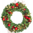 Christmas wreath with golden decoration — Stok fotoğraf