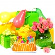 Birthday party decoration with roses, balloons, cake, candles an — Stock Photo #13410659
