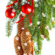 Christmas decoration with red balls and fir tree branch — Stock Photo #13410695