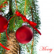 Merry christmas. decoration with red balls and fir tree branch — Stock Photo