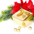 Golden gift and red christmas flower poinsettia - Stock Photo