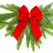 Christmas tree branch with red ribbon — Stock Photo #13410883