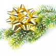 Green pine tree with golden ribbon. christmas and new year decor — Stock Photo