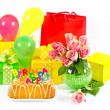 Happy Birthday! colorful party decoration. — Stock Photo