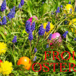 Colorful easter eggs on a beautiful spring meadow — Stock Photo