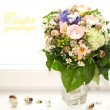 Easter greetings. spring flowers bouquet — Stock Photo #13413227