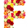 F, roses flower alphabet — Stock Photo