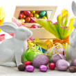Stock Photo: Easter decoration. eggs and bunnies
