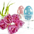 Stock Photo: Easter decoration. spring flowers with ceramic eggs