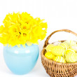 Stock Photo: Spring daffodils and easter eggs