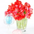 Stock Photo: Red tulips and ceramic easter eggs