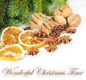 Cinnamon sticks with pine brunch. christmas decoration — Stock Photo