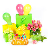 Happy Birthday! party decoration. cake and flowers — Stock Photo