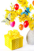 Forsythia flowers and easter eggs — Stock Photo