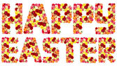 HAPPY EASTER, roses flower letters — Stock Photo