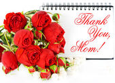 Thank you, mom! Mother's Day card concept with red roses — Stock Photo