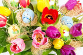 Colorful easter tulip flowers bouquet — Stock Photo