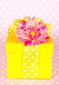 Geschenkbox mit gerber-blume — Stockfoto
