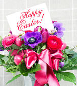 Happy easter! colorful spring flowers — Stock Photo