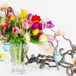 Colorful easter tulips bouquet — Stock Photo