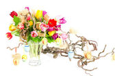 Bouquet of fresh colorful tulips flowers with easter decoration — Foto de Stock