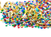 Colorful confetti background with golden streamer — Stockfoto