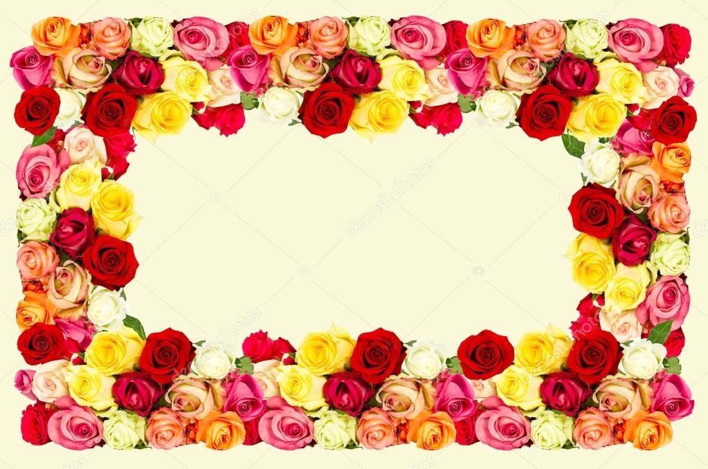 rose cornice di fiori colorati sfondo giallo concetto di carta foto stock liligraphie. Black Bedroom Furniture Sets. Home Design Ideas