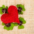 Red heart and fresh green clover leaves — Stock Photo #13433541