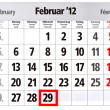 Leap year calendar with red mark on 29 February — Stock Photo #13434455