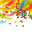 Colorful serpentine and confetti. carnival party decoration — Stock Photo