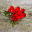 Wooden background with petals of red rose — Stock Photo