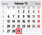 Leap year calendar with red mark on 29 February — Stock Photo